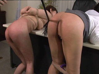 Japanese woman bent over and ass is whipped