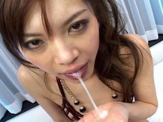 Sexy Japanese slut gets banged by 2 horny men