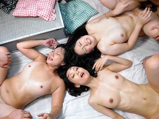 Three babes are having group sex in a van